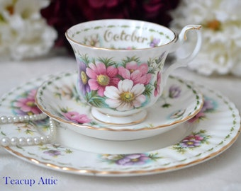 Royal Albert October Flower of the Month Cosmos Teacup and Saucer Trio, English Bone China Tea Cup Set, Birthday Gift,  ca. 1970