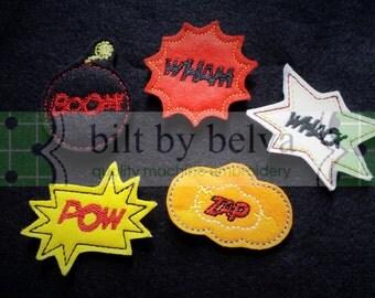 Custom Pre-cut Felt Embellishments - Felty Feltie for Hair Bows, Clips & More -  Superhero Comic Words Bubbles Pow Zap Wham Whack Boom