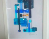 Framed Abstract Fused Glass Art - 'And a Ray of Sun Shone Through'