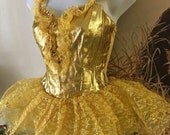 Vintage Metallic Gold Lace Tutu Leotard Costume. Sequin Trim. Ballerina, Circus, Belle/Beauty and the Beast Costume. XS Adult