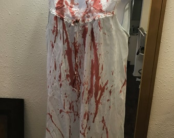 Bloody and Tattered Vintage Zombie Nightgown. Zombie Housewife, Bloody Mary, Vampire, Psycho, Dead Girl. Adult M/L