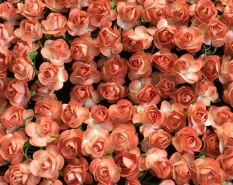 Set of 24 peach ombre Mulberry Paper Flowers