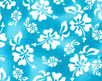 Hula GirlsTurquoise Hibiscus Floral Fabric