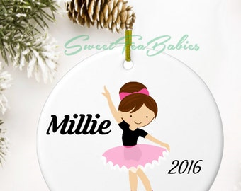 Ballerina ornament, dance recital gift, custom ornament, little girl ornament, Christmas ornament, dancer ornament,