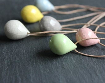 Simple handmade ceramic tear drop necklaces - yellow, gray, white, blue, pink and green pendant necklace