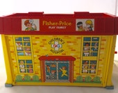 Vintage Fisher Price Play Family Children's Hospital Carry and Play Hospital Building With Three Fisher Price Little People