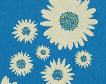 Floral Gift Wrap - Daisies - Blue or Orange