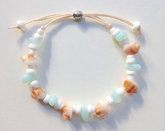 cultured sea glass bracelet, shell bracelet, beachcomber beach jewelry