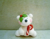 Polar Bear - Polymer Clay - Holiday Ornament