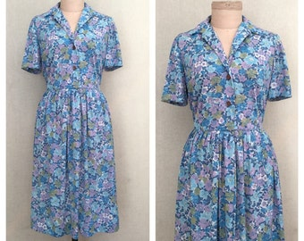 Periwinkle dress // 1960s floral dress // vintage 60s day dress // s - m