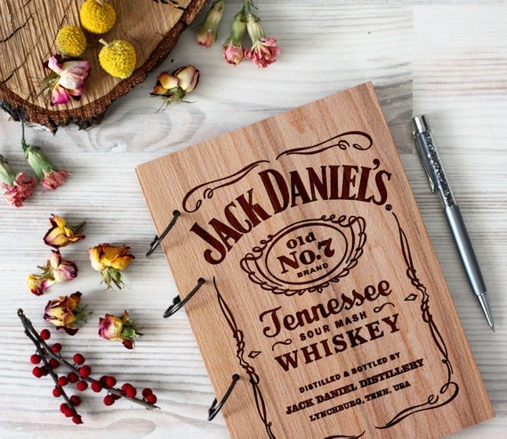 Wooden notebook - Jack Daniels notebook - Custom Notebook - Personalized Engraved