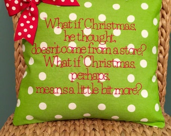 Customizable Christmas embroidered pillow cover Grinch theme