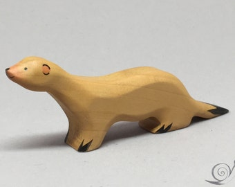 Toy Weasel wood white black colourful | Size: 10,5 x 4,0 x 1,8 cm (bxhxs) approx. 17 gr.
