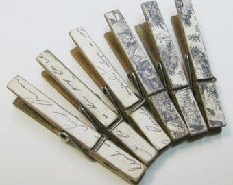 Black & Ivory Script and Toile Decorative Decoupaged Naturally Aged Clothespins