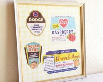 Framed Vintage Food Labels in Chippy Painted Wood Frame