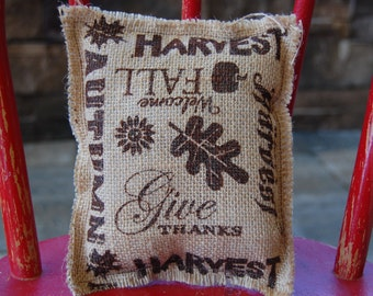 Harvest~Give Thanks burlap pillow
