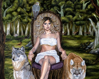 Limited Edition Goddess of the Forest Fantasy with Puma Wolf A3 Art Print