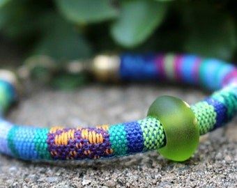 Woven Bracelet Green Bead Bracelet Recycled Sea Glass Beaded Jewelry Colorful Multicolored Tribal Hippie Jewelry Bohemian Bracelet
