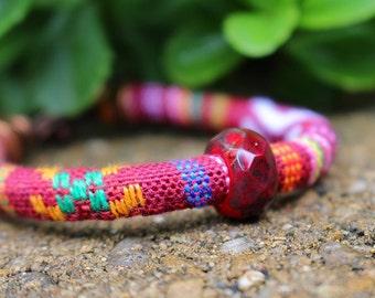 Red Bead Bracelet, Woven Bracelet, Multicolored, Beaded Jewelry, Bohemian Bracelet, Hippie Jewelry, Colorful, Stacking Bracelet