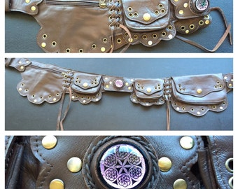 Brown Lilac utility belt with sacred geomtry glass