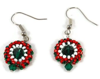 Christmas Wreath Earrings with Green Swarovski Bicones