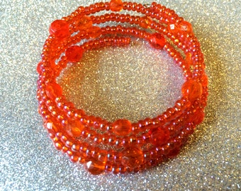 Bright Orange Bracelet Tangerine Crystal Glass Seed Bead Orange AB Rocaille Memory Wire Cuff Ladies Bracelet Ladies Jewellery Gifts for her
