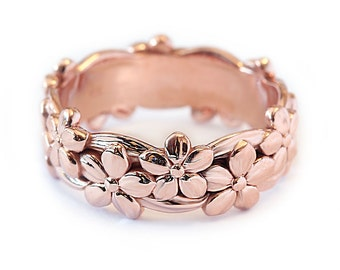 Floral Wedding Band, 14K Gold Band Ring, Flower Wedding Band Ring Size 6, Women Unique Wedding Jewelry Gift