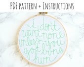 "PATTERN: ""i don't want none unless you got buns hun"" Hand Embroidery Pattern with Instructions"