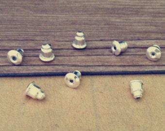 300pcs  silver color bullet earring plug 5mmx6mm