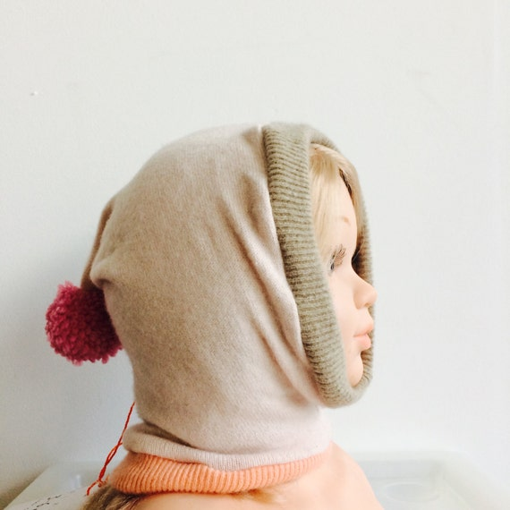DIZZY 3-6m Cashmere Baby Hat Balaclava Bobble Hat Snood Hoodie Upcycled Cashmere Pom Pom Unisex