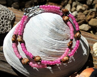 2 Ghost Berry Bracelets, Navajo Protection Charm, Shades of Cotton Candy Pink, Ghost Beads, Juniper