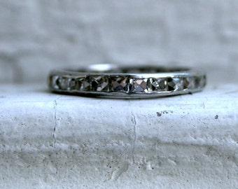 RESERVED - Antique Channel Platinum French Cut Diamond Wedding Band - 2.50ct.