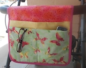 Walker Tote, Walker Caddy, Walker Bag, Pink and Lime Butterfly Design, Gift for Her