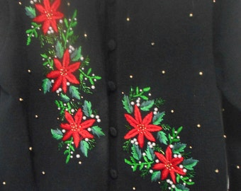Vintage Not So Ugly Christmas Sweater, Women Size L Black and Beaded Christmas Cardigan, Wonderful Condition