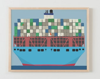 Fine Art Print. Container Ship. January 14, 2016.