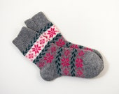 Knitted Wool Socks, Folk Pattern Socks - Gray and Pink, Size Large