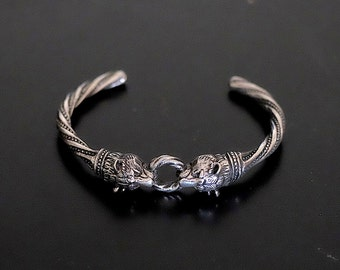Lion heads bracelet, Silver bracelet, Cuff bracelet, For women.