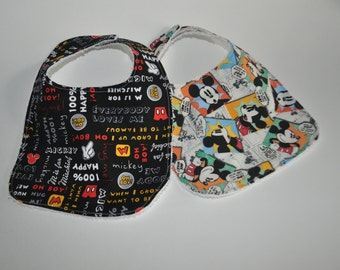 2 Mickey Mouse Baby bibs,  Mickey Mouse Bibs, Disney World baby bibs, set of 2 bibs in Mickey Mouse  prints for baby, Mickey baby bib