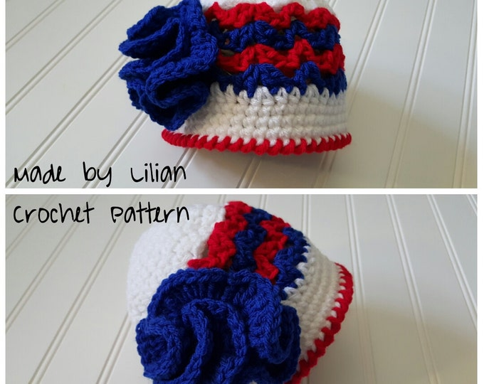 4th of july Crochet Hat ***Pattern***, crochet cloche pattern, 4th of july pattern, American Flag newborn photo prop, Baby girl hat
