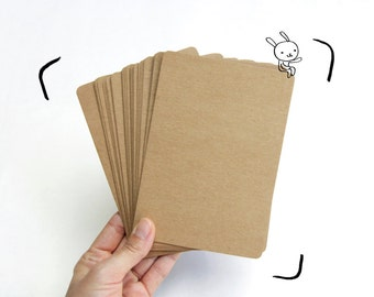 "Kraft Paper/ Blank Postcard Card/ Invitation Cards, Size 4.2"" x 6"" inch with rounded corners, Set of 25 - for postcard, greeting card, DIY"