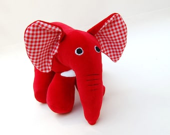 Red rubber elephant inspired by Max and Ruby's red plush elephant Free shipping