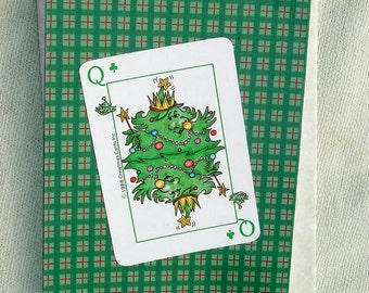 Vintage Queen Christmas Tree Playing Card Christmas or Yule Handmade Card - Handmade Cards