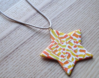 Polymer Clay Pendant, Citrus Star Pendant, Funky Jewellery, Handmade Necklace, 16th Birthday Gift, Gift for Daughter, FIMO Pendant