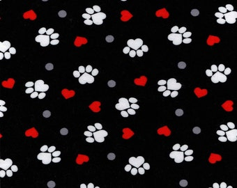 Snuggle Flannel Prints - Paw Prints and Hearts on Black - 20 inches