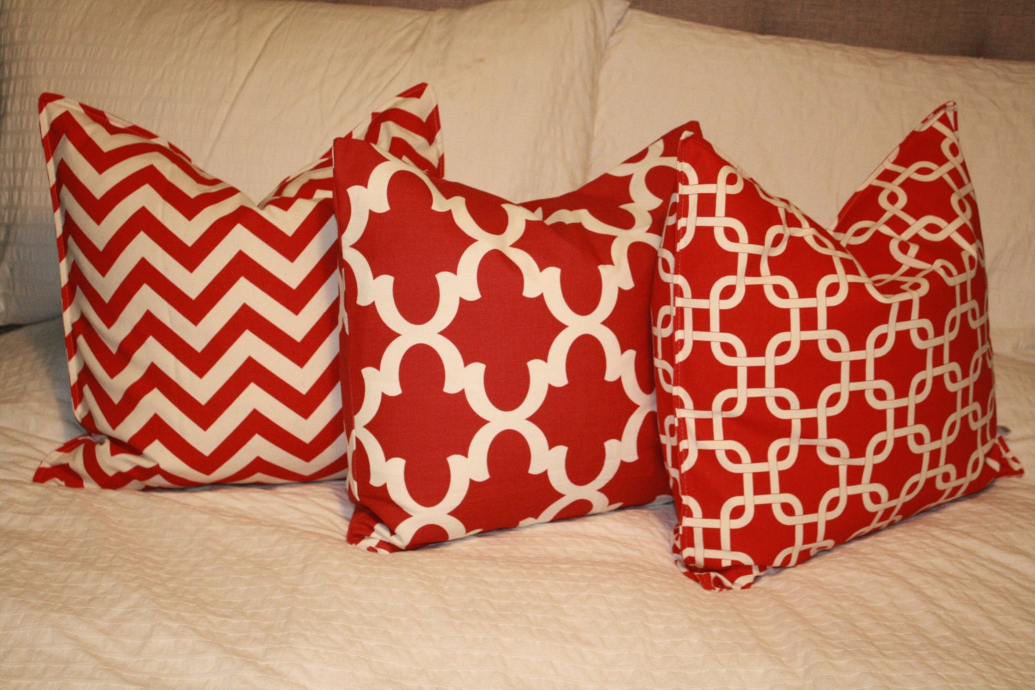 20 Square Throw Pillow Covers : 20 x 20 Square Pillow Cover - Red/Tan Chevron ZigZag, Cushion Cover, Throw Pillow, Premier ...
