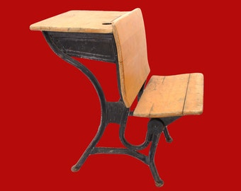 Antique School Desk with Seat in Front American Seating Co. 1800's