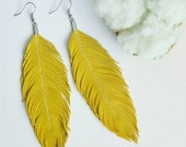Feather Earrings, Large Earrings, Lambskin Leather, Leather Earrings, Leather Feather Earrings, Boho, Yellow Earrings, Bohemian, Buttercup
