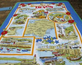 Tea Towel Vintage Souvenir Memories of Devon - English Tea Towel