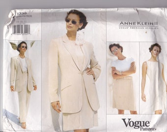 Vogue American Designer Pattern - Anne Klein 1739 Jacket, Dress, Skirt, Pants  Size 18-22 Factory folded and complete