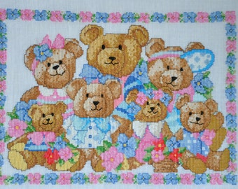 Finished completed counted Cross stitch - Bear Family - crossstitch counted cross stitch